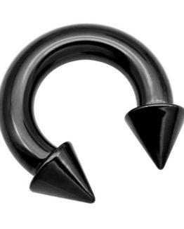 černá piercingová podkova s hroty